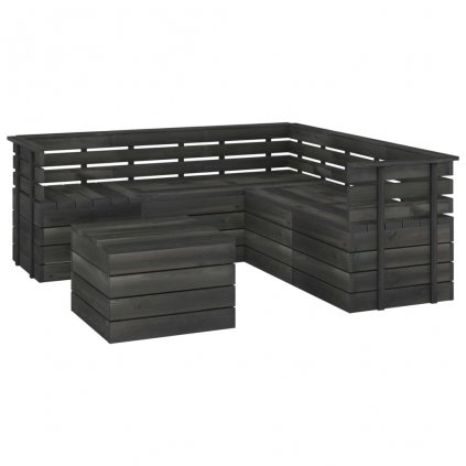 6-dílná zahradní sedací souprava Deaccons z palet - borovice | tmavě šedá