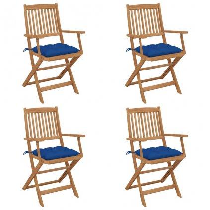 Skládací zahradní židle Busbee s poduškami - masivní akáciové dřevo | 4 ks