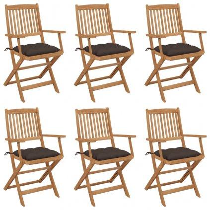 Skládací zahradní židle Busbee s poduškami - masivní akáciové dřevo | 6 ks