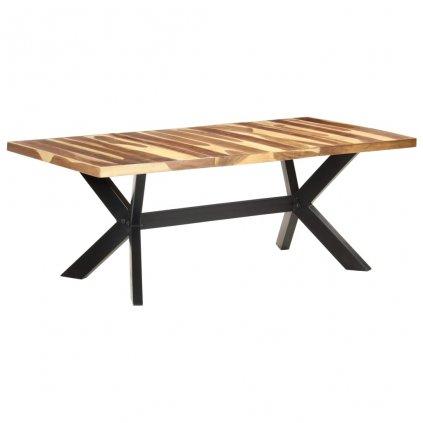 Jídelní stůl Suttro - 200x100x75 cm   masivní dřevo sheeshamový vzhled