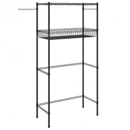 2-patrový úložný regál nad pračku - 75x35x150 cm | stříbrný