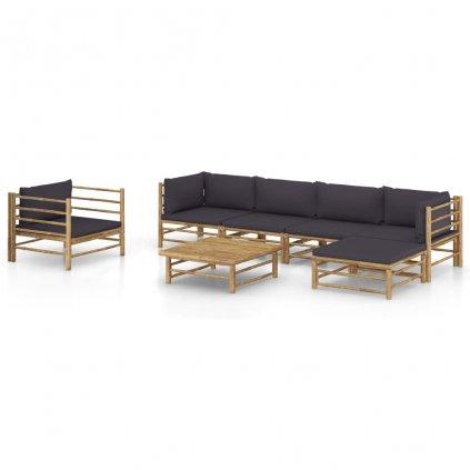 7-dílná zahradní sedací souprava Camden - bambus | tmavě šedé podušky