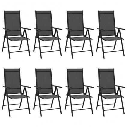 Skládací zahradní židle Stockwell - textilen - 8 ks | černé
