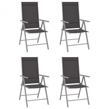 Skládací zahradní židle Aetna - textilen - 4 ks | černé