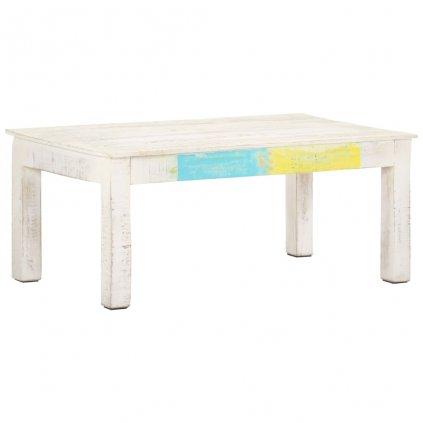 Konferenční stolek Rhones - 110x60x45 cm - masivní mangovníkové dřevo | bílý