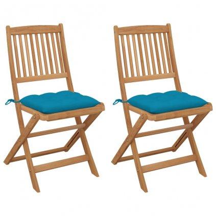 Skládací zahradní židle Campo s poduškami - masivní akáciové dřevo | 2 ks