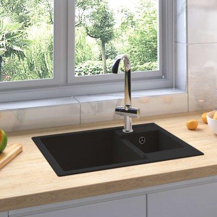 Dvojitý kuchyňský dřez - s přepadovým otvorem - žula | černý