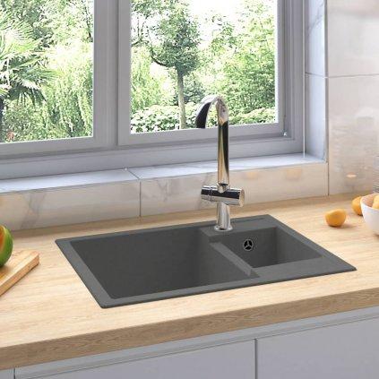 Dvojitý kuchyňský dřez - s přepadovým otvorem - žula | šedý