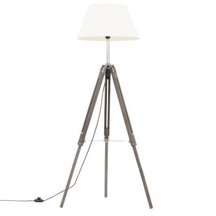 Stojací lampa Berea - masivní teakové dřevo - 141 cm | šedá a bílá
