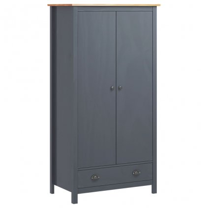 2-křídlá šatní skříň - 89x50x170 - masivní borovice | šedá