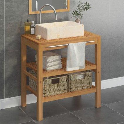 Koupelnová skříňka s 1 umyvadlem - masivní teak - obdélníkové | hlazený krémový mramor