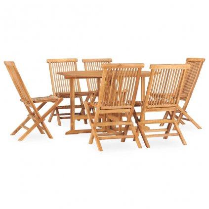 7-dílný skládací zahradní jídelní set Jeon   masivní teakové dřevo