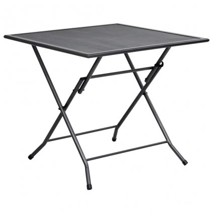 Skládací pletivový stůl Kerby - ocel - antracit   80 x 80 x 72 cm