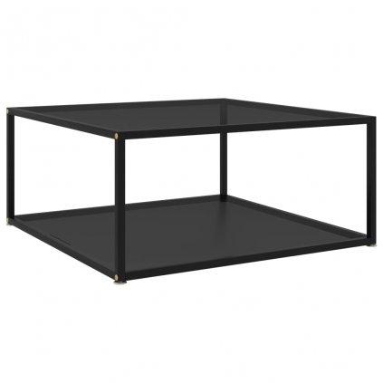 Čajový stolek Tiptree - černý - tvrzené sklo | 80x80x35 cm