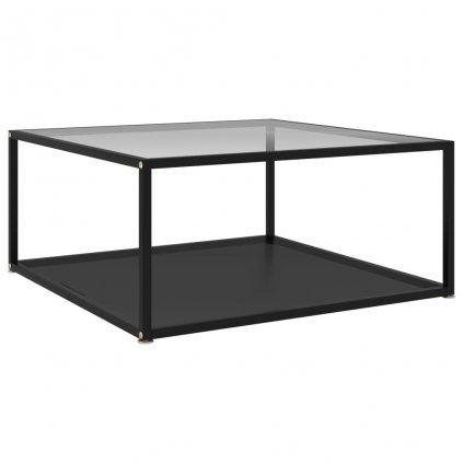 Čajový stolek Tiptree - černý a průhledný - tvrzené sklo | 80x80x35 cm