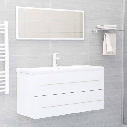 2dílný set koupelnového nábytku - skříňka + zrcadlo 100 cm - dřevotříska   bílý