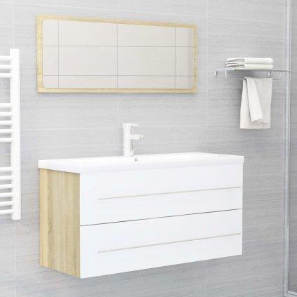 2dílný set koupelnového nábytku - skříňka + zrcadlo 100 cm - dřevotříska   bílý a dub sonoma