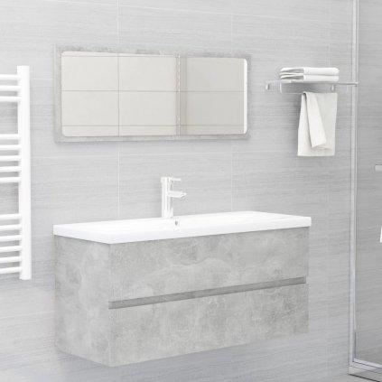 2dílný set koupelnového nábytku - skříňka + zrcadlo 100 cm - dřevotříska   betonově šedý