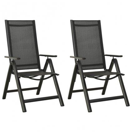 Skládací zahradní židle - 2 ks - textilen a hliník   antracitové
