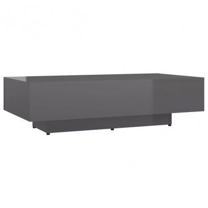 Konferenční stolek Tillie - dřevotříska - 115x60x31 cm | šedý vysoký lesk