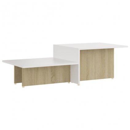 Konferenční stolek Kash - dřevotříska - 111,5x50x33 cm | dub sonoma a bílý