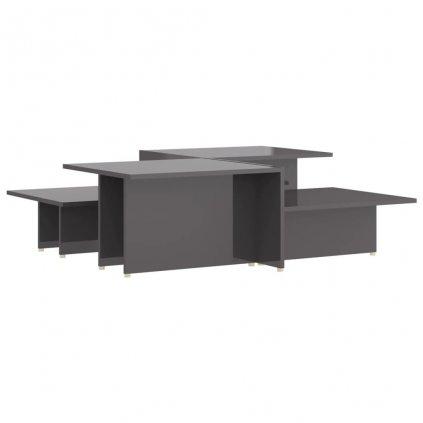 Konferenční stolky Kash - 2 ks - dřevotříska - 111,5x50x33 cm   šedé lesklé
