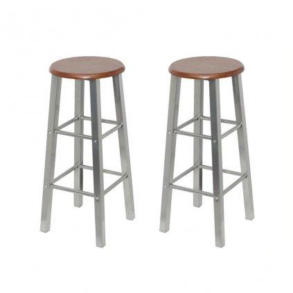 Barové stoličky 2 ks | kov se sedákem z MDF desky