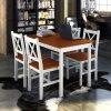Dřevěný stůl a 4 dřevěné židle | hnědá
