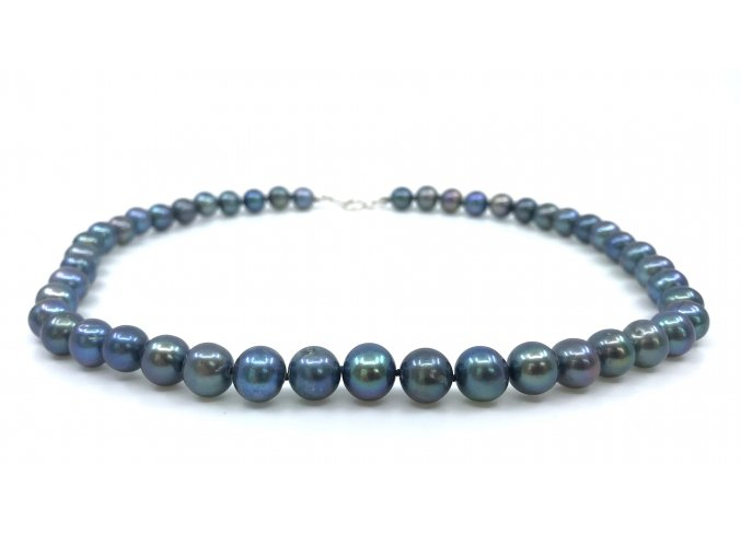 Náhrdelník z modrých perel vysoký lesk