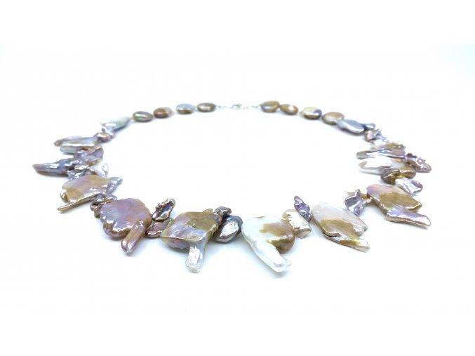 Náhrdelník keshi perly zlaté a levandulové barvy