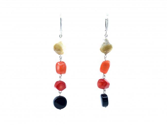 Náušnice barvený korál onyx a perla