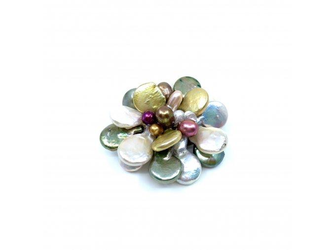 Brož z barevných perel 1ks