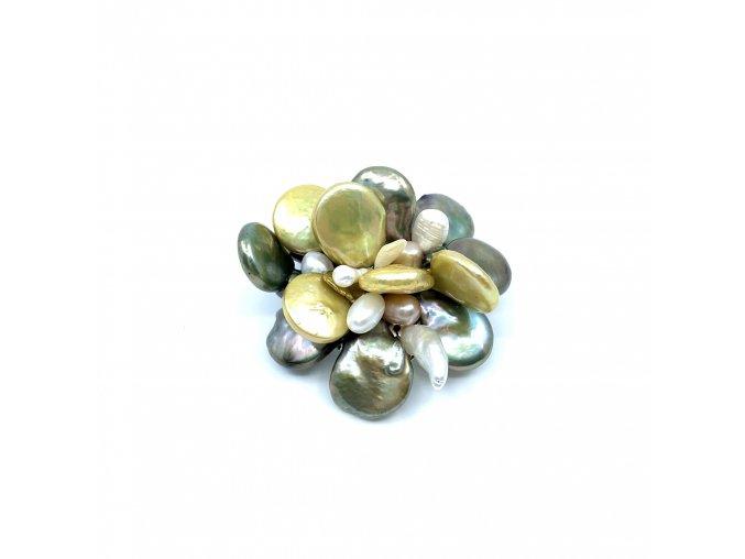Brož ze zelených a bílých perel 1ks