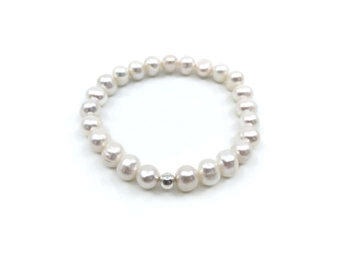 Perlový náramek z bílých perel buton