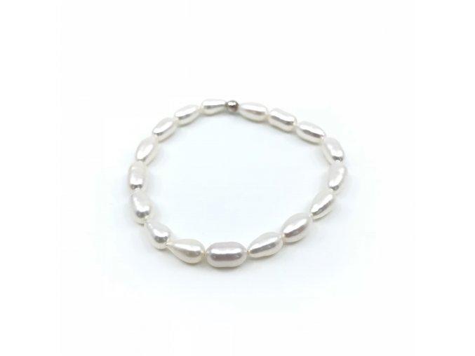 Náramek z bílých oválných perel