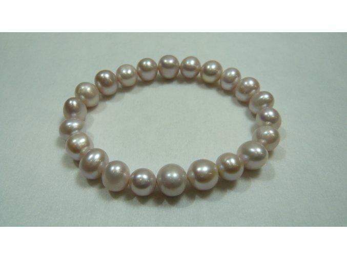 Náramek z růžových levandulových perel