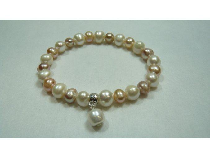 Náramek z lososových, bílých a levandulových perel