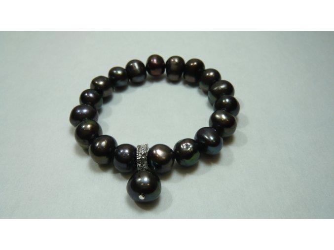 Náramek z velkých hnědozelených perel