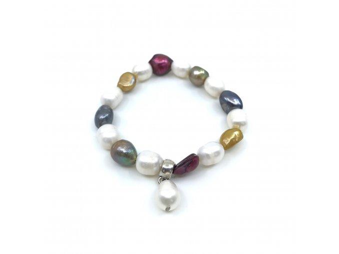 Náramek z barevných oválných perel