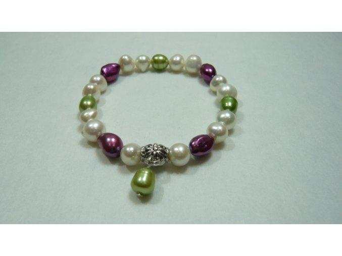 Náramek z barevných nepravidelných perel