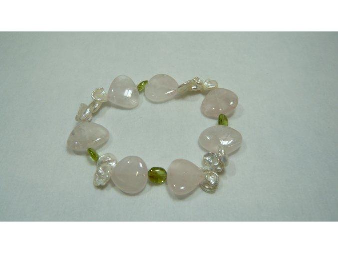 Náramek z růženínu, olivínu a perly