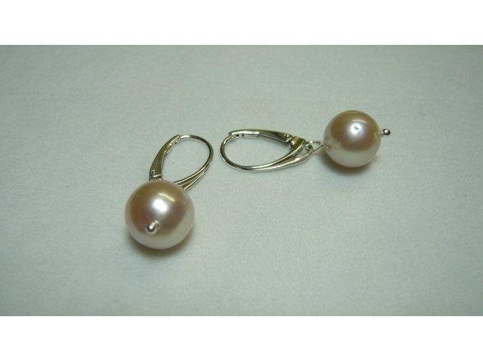 Náušnice z velkých levandulových kulatých perel