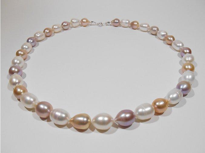 Náhrdelník z oválných barevných perel