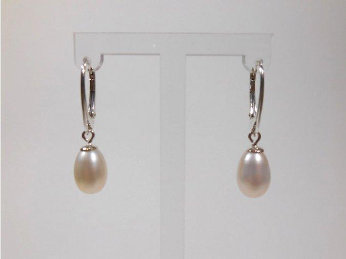 Náušnice z bílých oválných perel