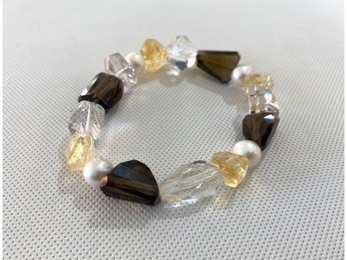 Náramek z křišťálu, záhnědy, citrinu a bílé perly