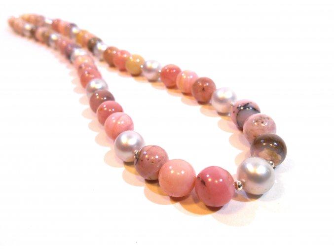 Náhrdelník andský opál a šedá perla