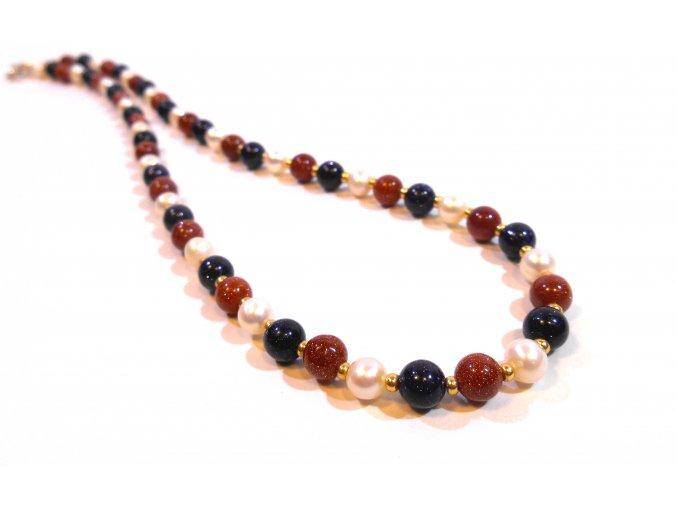 Náhrdelník syntetický avanturín a perly