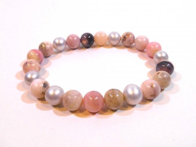 Náramek andský opál kuličky a perla