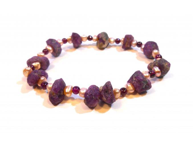 Náramek surový rubín almandin a perla