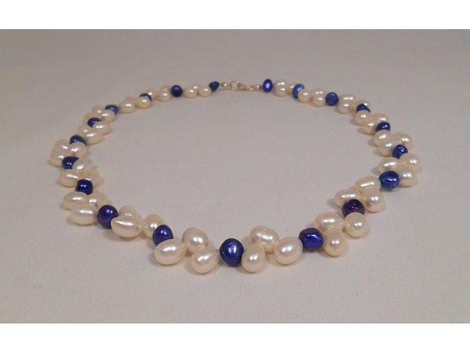 Perlový náhrdelník bílé a modré perly